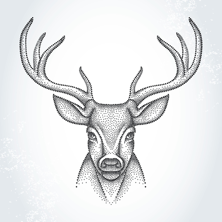 Dotted head of deer with antlers isolated on white background. Cute animal in dotwork style.