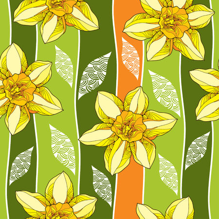 Seamless pattern with narcissus flower or daffodil and ornate white leaves on the green background. Floral background in contour style.
