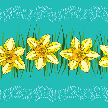 Seamless pattern with narcissus flower or daffodil in yellow and green leaves on the turquoise background with stripes. Floral background in contour style. Illustration