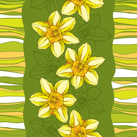 Seamless pattern with ornate narcissus flower or daffodil on the green background with stripes. Floral background in contour style. Illustration