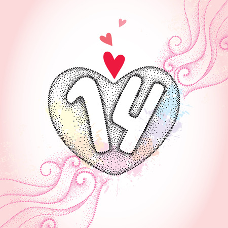 amore: Dotted heart and numbers 14 on the pink textured background with swirls and blots. Traditional background for Valentine day in dotwork style.