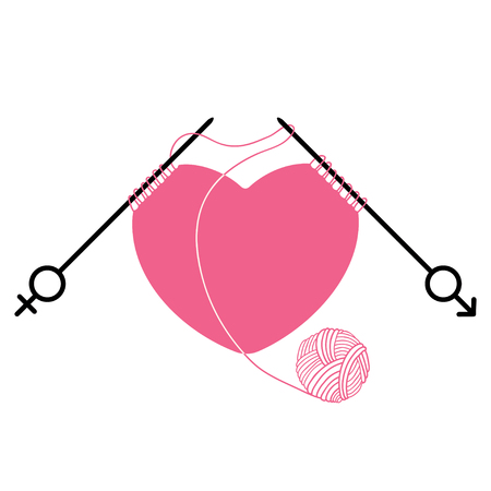 Pink heart and knitting needles with gender symbol isolated on white background. Concept of relations between men and women. Traditional symbols of Valentine's Day. Vektoros illusztráció