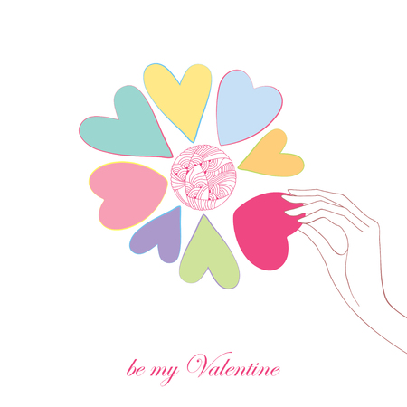 tender passion: Flower with petals like heart and hand with pink heart isolated on white background. Greeting card for Valentine day with the words be my Valentine.
