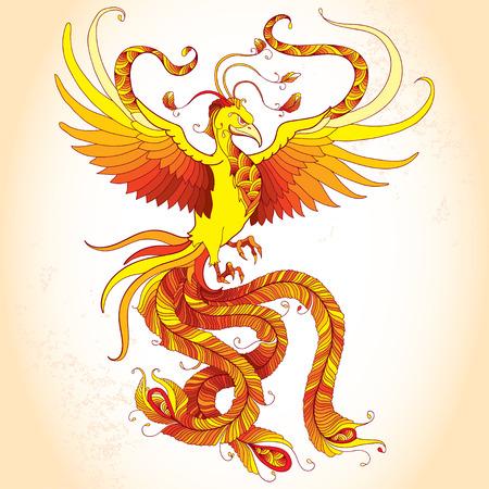 legendary: Mythological Phoenix or Phenix on the beige background. Legendary bird that is cyclically reborn. Series of mythological creatures