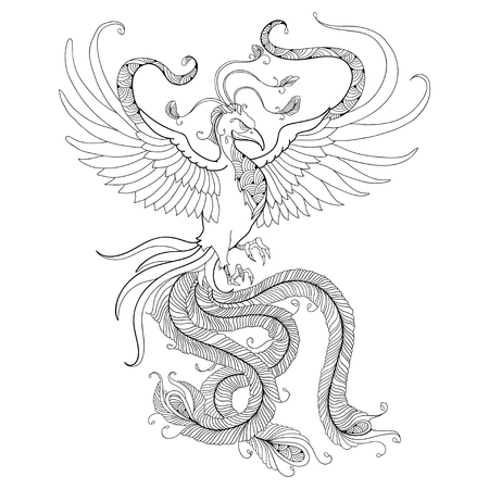 Mythological Phoenix or Phenix isolated on white background. Legendary bird that is cyclically reborn. Series of mythological creatures Illustration