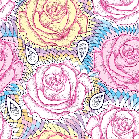 Seamless pattern with dotted rose flower in pink and decorative lace in pastel colors. Floral background in dotwork style.