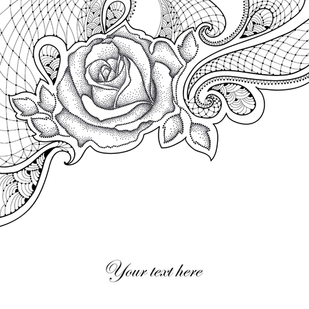 frill: Greeting card with dotted rose with leaves and decorative lace in black isolated on white background. Floral elements in dotwork style.