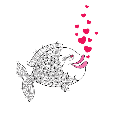 tender passion: Cartoon fish with pink lips and red bubbles like heart isolated on white background. Cartoon elements in contour style for Valentine day.