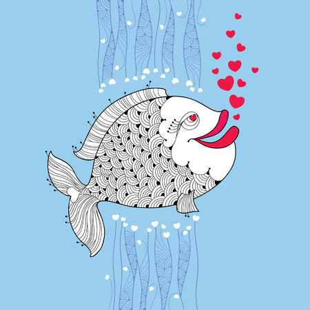 pink bubbles: Cartoon fish with smiling lips and pink bubbles like heart on the blue background. Cartoon elements in contour style for Valentine day.