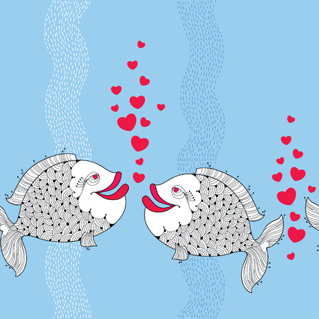love symbols: Seamless pattern with cartoon fishes couple in love and red bubbles like heart on the blue background with stripes. Cartoon background for Valentine day. Illustration