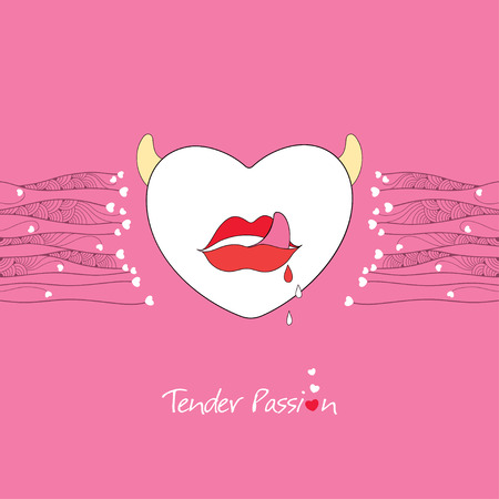 tender passion: White heart with horns and red open lips on the pink background. Greeting card for Valentine day in contour style with the words Tender Passion.