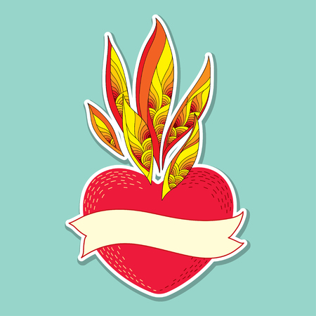 tender passion: Red heart with ornate flame and beige ribbon with an empty place for text on the turquoise background. Traditional elements for Valentine day in contour style. Illustration