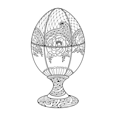 style wealth: Faberge egg with floral motifs in contour style isolated on white background. Series jewelry. Symbol of luxury and wealth emblem.