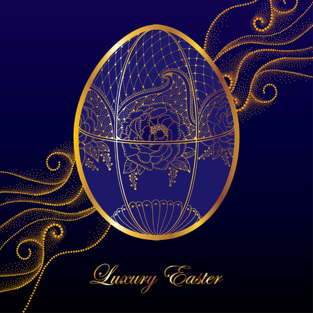 Greeting card with Faberge egg in floral motifs on the dark blue background with dotted curls. Series jewelry in contour style. Luxury background for Easter with golden egg.