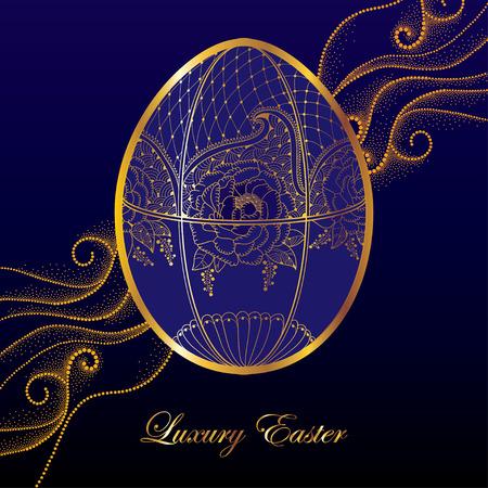 luxo: Cartão com Faberge ovo em motivos florais no fundo azul escuro com ondas pontilhadas. jóias série no estilo de contorno. Fundo luxuoso para a Páscoa com o ovo de ouro. Ilustração