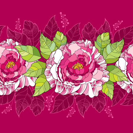 Seamless pattern with peony flower in pink and green leaves on the dark background. Floral background in contour style.