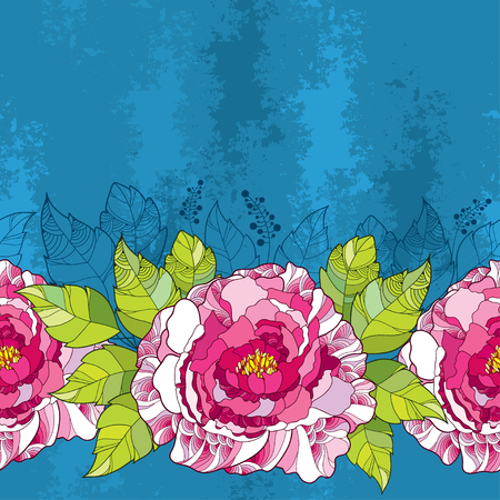 Seamless pattern with peony flower in pink and green leaves on the blue textured background. Floral background in contour style.