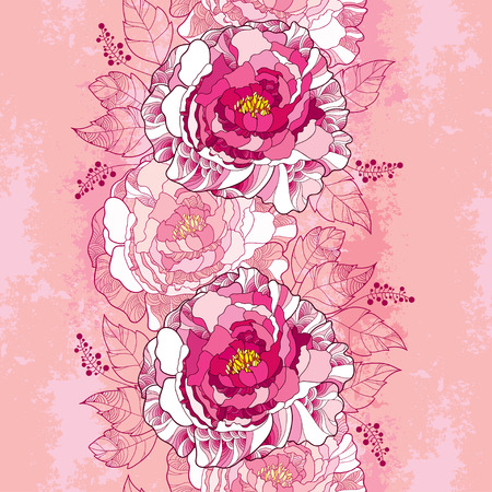 Seamless pattern with peony flower in pink and leaves on the vintage textured background. Floral background in contour style. Illustration