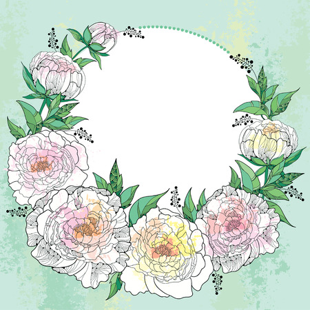 Round wreath with seven peony and leaves with an empty place for text on the green textured background. Greeting card with floral elements in contour style.