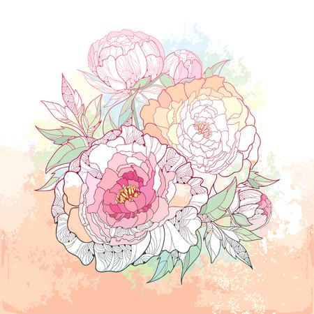 Bouquet rond avec des fleurs de cinq pivoine et feuilles sur le fond beige texturé avec des taches de couleur pastel. éléments floraux dans le style de contour.