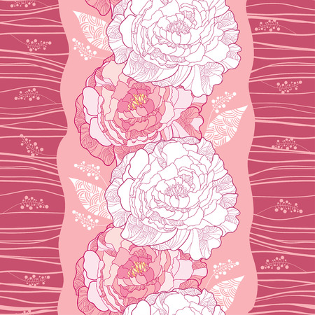 sepals: Seamless pattern with ornate peony in pink and white leaves on the pink background with stripes. Floral background in contour style.