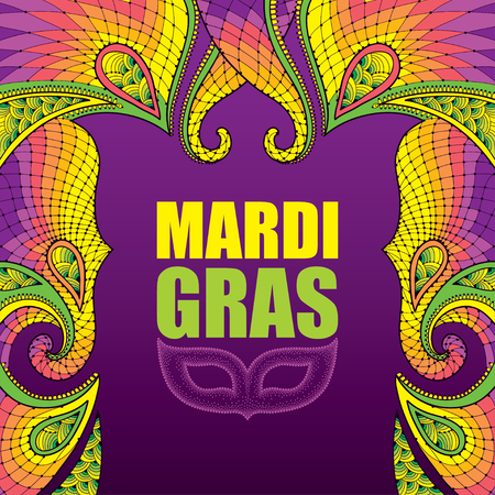Greeting card with dotted carnival mask in purple and decorative colorful lace on the violet background. Traditional festive background for Mardi Gras. Decoration element in dotwork style. Illustration
