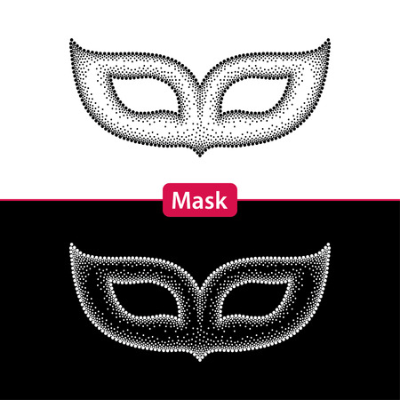 attribute: Dotted carnival mask in black and in white isolated. Traditional attribute for Mardi Gras. Decoration element in dotwork style.