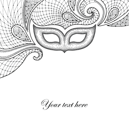 attribute: Greeting card with dotted carnival mask and decorative lace in black isolated on white background. Traditional attribute for Mardi Gras. Decoration element in dotwork style.