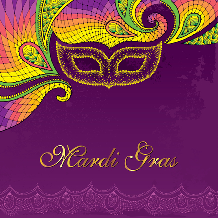 Greeting card with dotted carnival mask in yellow and decorative colorful lace on the violet background. Traditional festive background for Mardi Gras. Decoration element in dotwork style. Vectores
