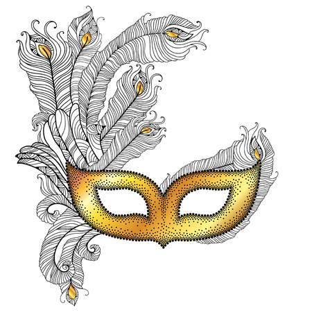 the attribute: Gold Venetian carnival mask Colombina with outline peacock feathers in black isolated on white background. Traditional attribute for masquerade. Decoration element in dotwork style.
