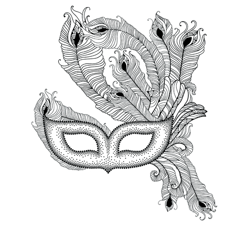 attribute: Dotted Venetian carnival mask Colombina with outline peacock feathers in black isolated on white background. Traditional attribute for masquerade. Decoration element in dotwork style.