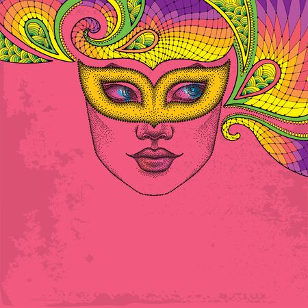 attribute: Dotted girl face in orange carnival mask Colombina and decorative colorful lace on the pink background. Traditional attribute for masquerade. Decoration element in dotwork style.