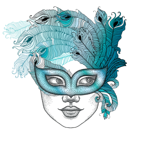 attribute: Dotted girl face in Venetian carnival mask Colombina with outline peacock feathers isolated on white background. Traditional attribute for masquerade. Decoration element in dotwork style.