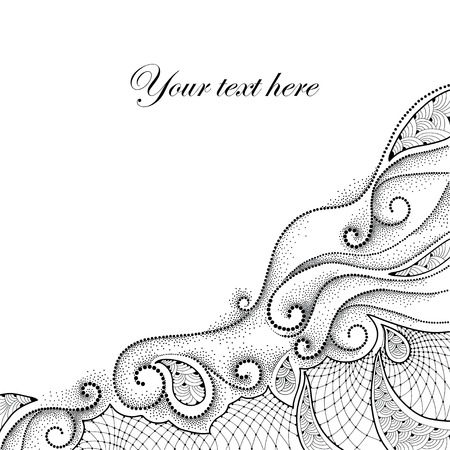 frill: Abstract background with dotted swirls and contour decorative lace in black isolated on white background. Corner composition. Design elements in dotwork style.