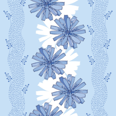 asteraceae: Seamless pattern with ornate chicory flower in blue on the light blue background with stripes. Floral background in contour style. Illustration