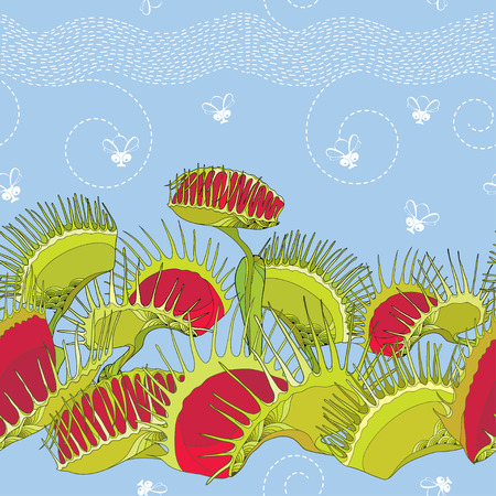 Seamless pattern with Venus Flytrap or Dionaea muscipula and cartoon white flies on the blue background. Background with carnivorous plants in contour style. Vectores
