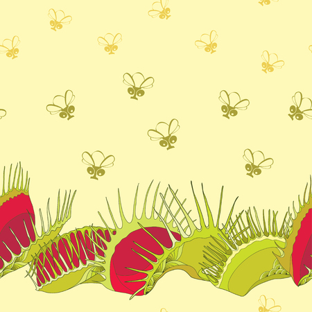 Seamless pattern with Venus Flytrap or Dionaea muscipula and cartoon flies on the yellow background. Background with carnivorous plants in contour style. Illustration