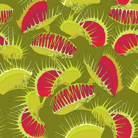 Seamless pattern with Venus Flytrap or Dionaea muscipula on the dark green background. Background with carnivorous plants in contour style.