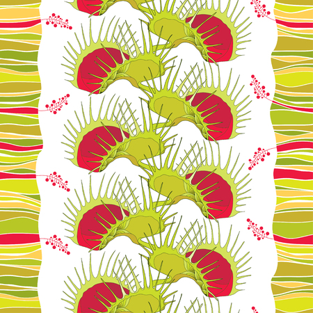 Seamless pattern with Venus Flytrap on the white background with stripes.