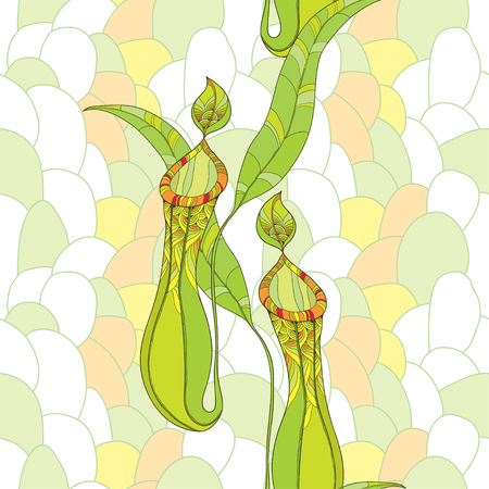 Seamless pattern with Nepenthes or monkey-cup on the pastel mosaic background. Illustration