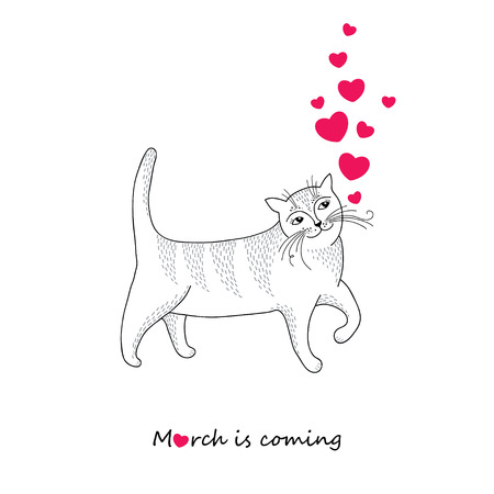 tender passion: Funny striped cat with red hearts isolated on white background. Concept of March is coming in contour style. Series of comic cats. Greeting card for Valentine day.