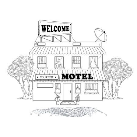 two storey: Small two storey motel with trees at the back isolated on white background. Architectural elements in contour style. Illustration