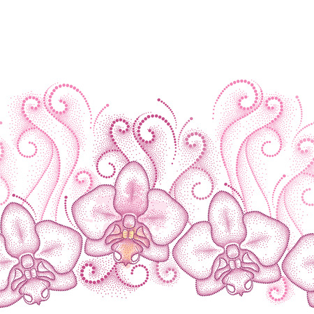 moth: Seamless pattern with pink dotted moth Orchid or Phalaenopsis and swirls on the white background. Floral background in dotwork style.