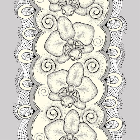 frill: Seamless pattern with dotted moth Orchid or Phalaenopsis, swirls and decorative lace on the light yellow background. Floral background in dotwork style.
