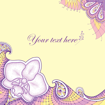 frill: Dotted moth Orchid or Phalaenopsis with decorative lace in pastel colors on the yellow background. Floral elements in dotwork style. Illustration