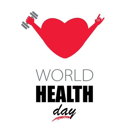 hand with dumbbell: Heart with dumbbell in hand and show sign of the horns, popular rock concert gesture isolated on white background. Concept for World Health Day.