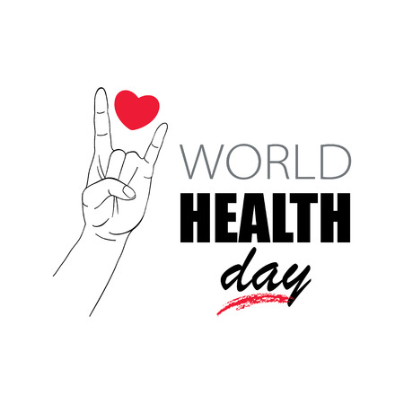 Human hand demonstration sign of the horns, Rock and Roll sign and popular rock concert gesture with heart between the fingers isolated on white background. Concept for World Health Day. Illustration