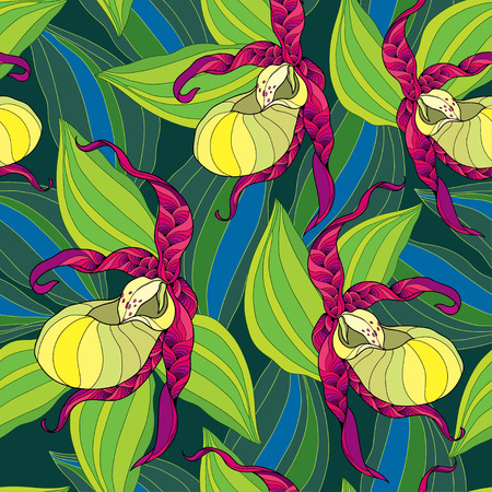 slipper: Seamless pattern with Cypripedium calceolus or Ladys slipper orchid in yellow and striped leaves on the dark green background.
