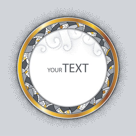 rim: Round decorative frame with golden rim, abstract mosaic and dotted swirls isolated on gray background. Greeting card with empty place for text. Design elements in dotwork style. Illustration