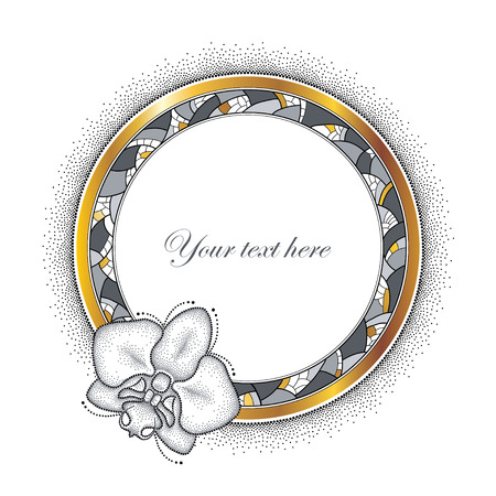 rim: Round decorative frame with dotted moth Orchid or Phalaenopsis, golden rim and abstract mosaic isolated on white background. Greeting card with empty place for text. Floral elements in dotwork style.